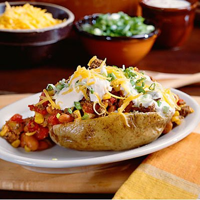 Ground Beef Recipes: Chili-Topped Potatoes