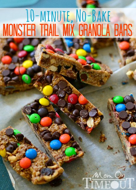 Monster Trail Mix Granola Bars | MomOnTimeout.com These no-bake granola bars take less than ten minutes to prepare and taste WAY better than any store bought granola bars!
