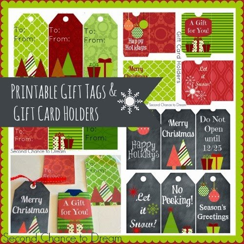Second Chance to Dream Printable Christmas Gift Tags and Gift Card Holders