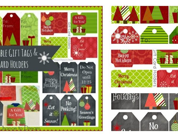 Second Chance to Dream: Printable Gift Tags & Gift Card Holder #gifttags #giftcard #Christmas