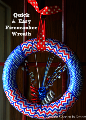 Second Chance to Dream: Quick & Easy Firecracker Wreath #4th ofJuly ,#wreath