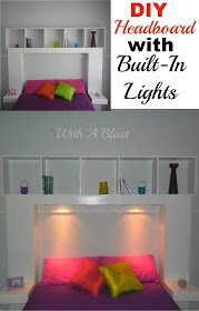 DIY Headboard with Built-In Lights ~ Easy DIY Headboard with lights which cast a lovely glow ~ link to plans and everything included in post ! #Headboard #DIY #DIYHeadboard #LightedHeadboard