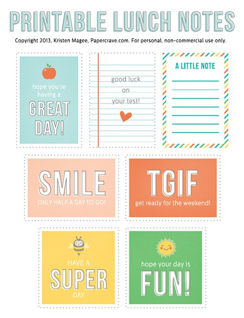 Back to School - Free Printable Lunch Notes by PaperCrave LivingLocurto.com