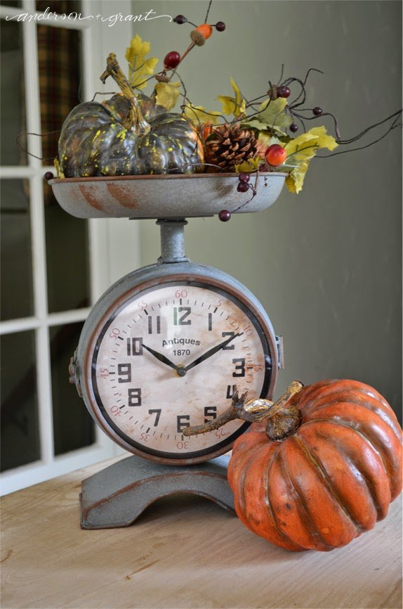 Have you started decorating for fall?  Check out this Fall Vignette in a kitchen scale   www.andersonandgrant.com
