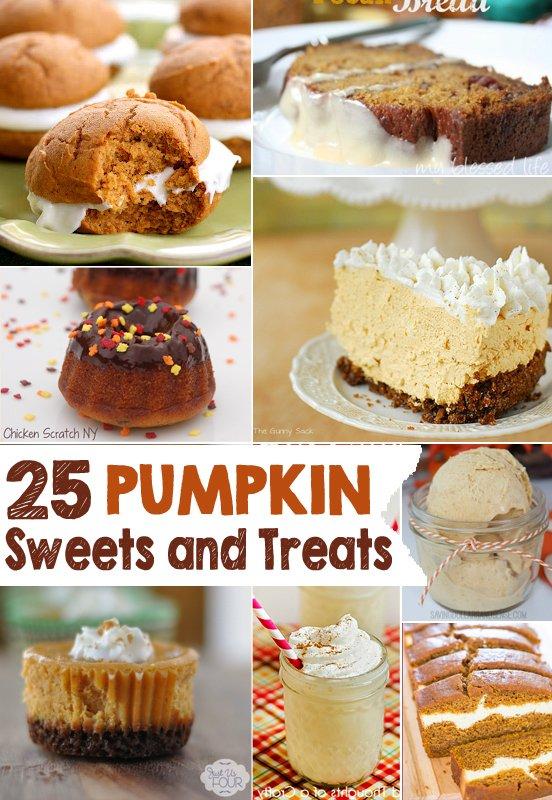 Pumpkin Sweets and Treats, 25 recipes guaranteed to get you ready for Fall! #Pumpkin #Recipes