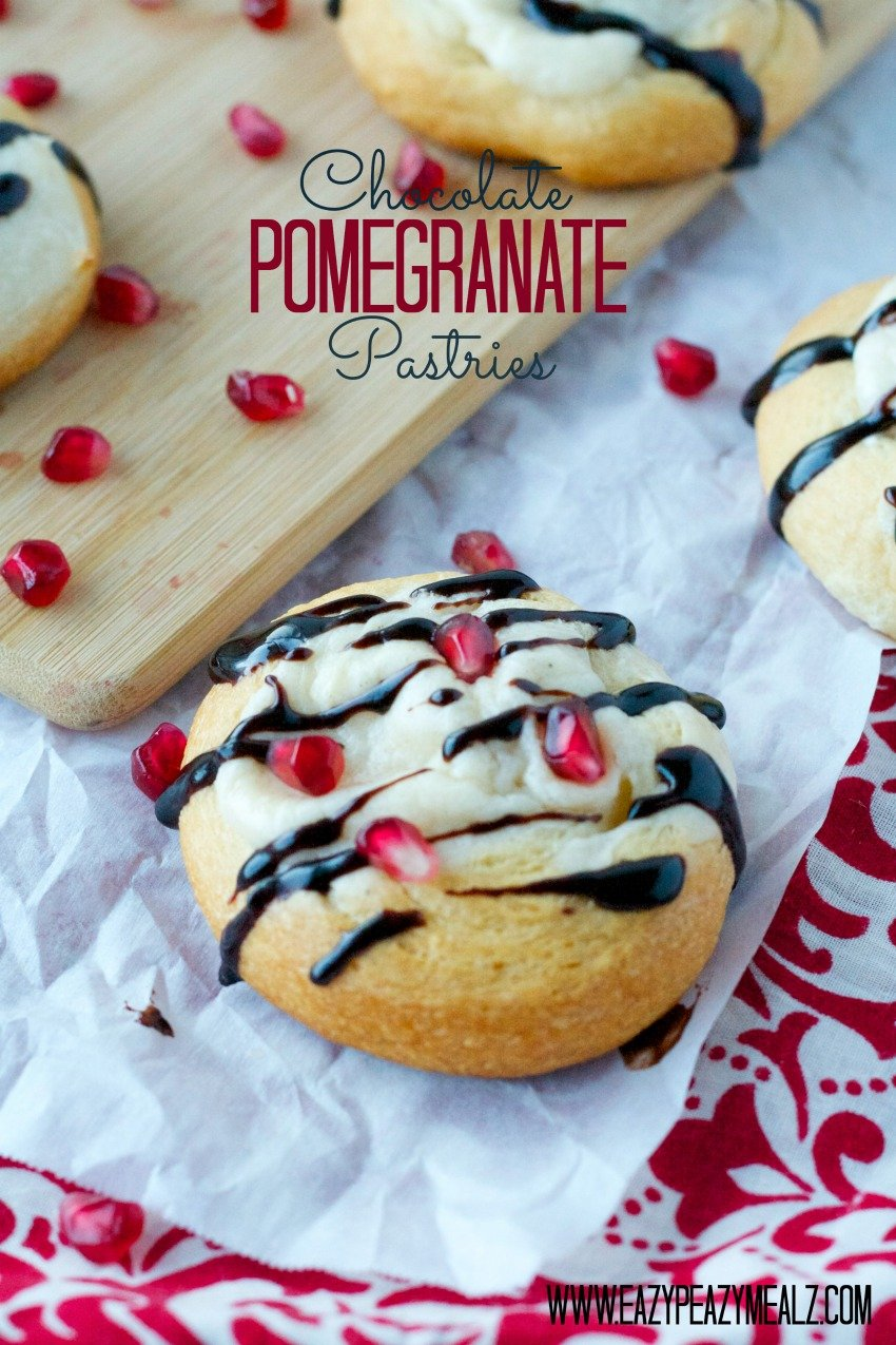 Chocolate Pomegranate Pastry Breakfast holiday Chocolate Pomegranate Pastries
