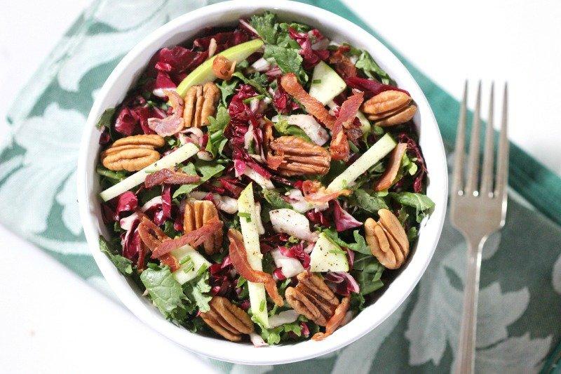 Fresh Winter Kale Salad with Radicchio, Pancetta and Pecans
