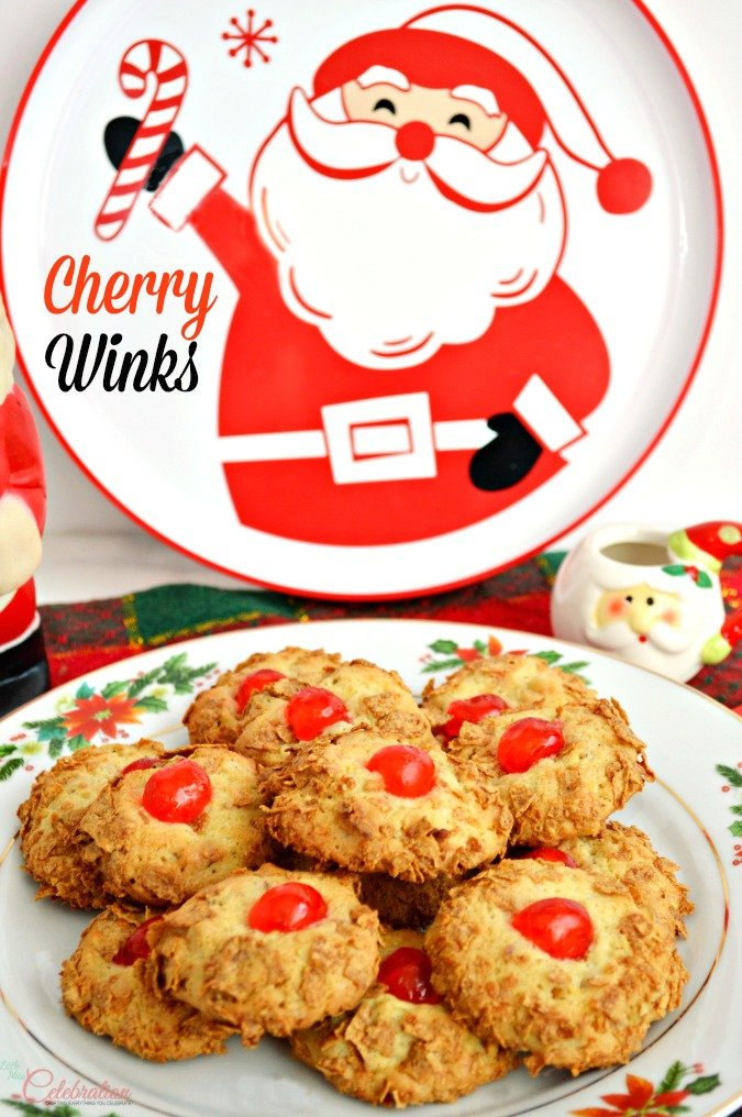 With a hint of lemon and a crunchy coat of wheat cereal, Cherry Winks are an easy, old-fashioned drop cookie perfect for the holidays! At littlemisscelebration.com #Christmas #cookie