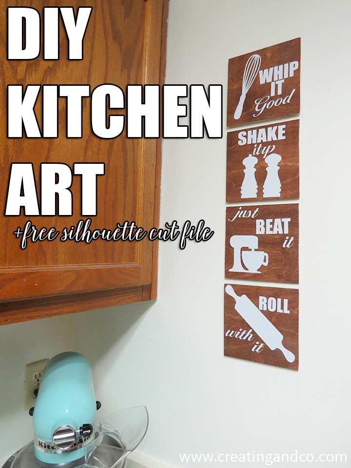 This DIY kitchen art is easy to make and you can download the FREE Silhouette cut file to make your own!