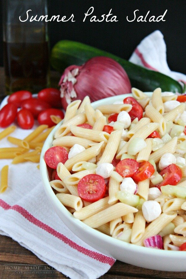 This pasta salad uses fresh cucumbers and tomatoes with a splash of olive oil and vinegar to make the perfect simple side or main dish!