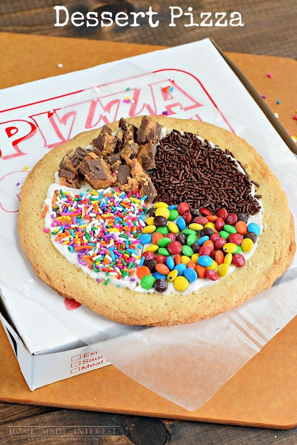 This is such a fun thing to do with the kids. Make a dessert pizza from a sugar cookie and let the kids do their own toppings!
