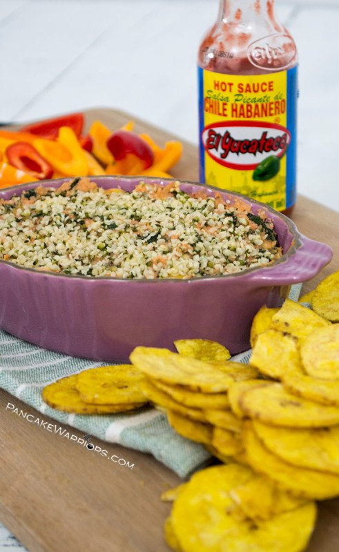 This spicy kale artichoke dip is sure to steal the show at your next get together. This spicy recipe is simple to make, vegan, only requires a few ingredients. There is a paleo option as well so everyone can enjoy this at your next party! | www.pancakewarriors.com