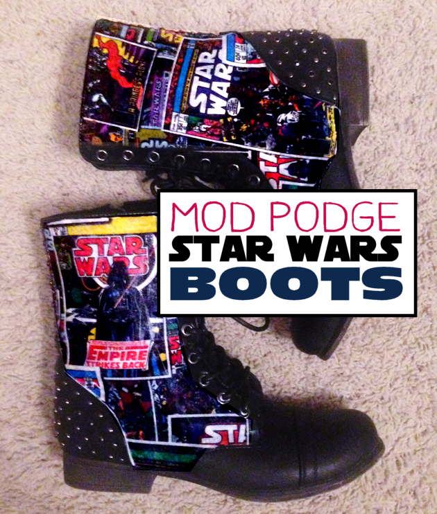 Mod Podge your own set of Star Wars Boots! All you need are two things... the Mod Podge and some Star Wars fabric. Very easy and fun to make!