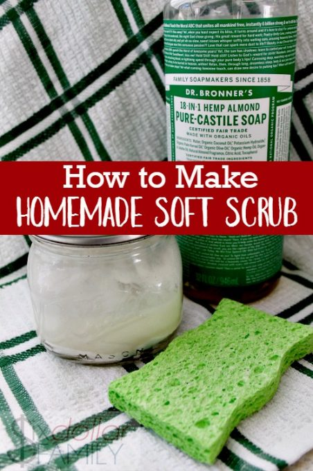 Essential Oil Household Cleaner -How to Make Homemade Soft Scrub - Clean your bathroom naturally! This homemade soft scrub recipe is easy to make, cheap and simply amazing!