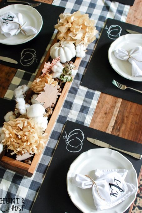 Thanksgiving Tablescapes Fall Ideas Tour: Mantels, Tablescapes, Wreaths, Printables and Porches. Hunt & Host's DIY chalkboard placemat is a fun project for any time of the year!