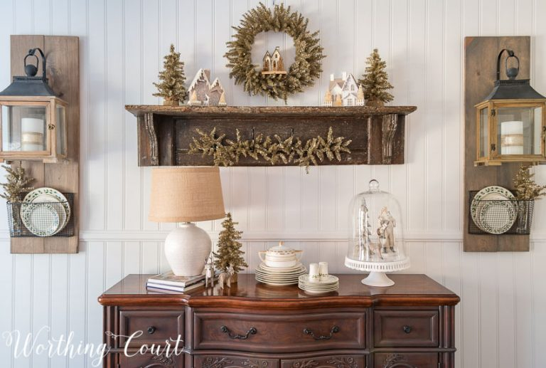 Christmas farmhouse sideboard and vintage shelf || Worthing Court