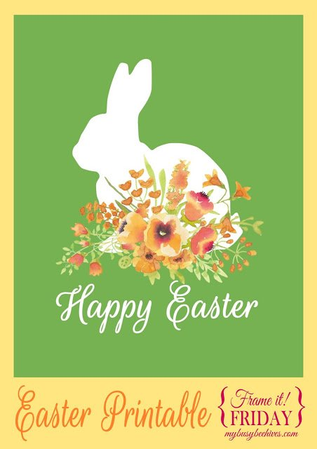Happy Easter printable with rabbit