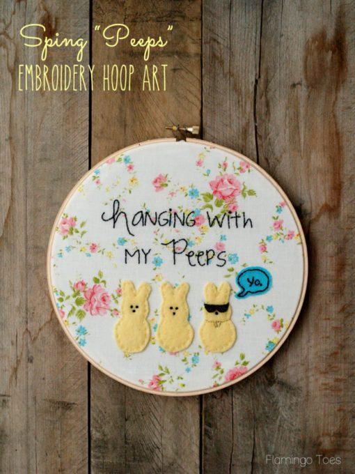 Spring Peeps Embroidery Hoop Art